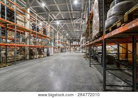 Large Hangar Warehouse Industrial And Logistics Companies. Warehousing On The Floor And Called The H
