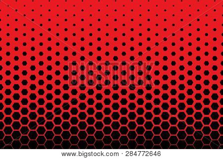 Vertical Gradient Halftone Background With Hexagons. Pop Art Style. Design Elements For Presentation