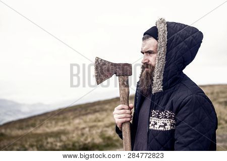 Lumberhack. Handsome Man Hipster Or Guy With Beard And Moustache On Serious Face In Hat And Jacket H