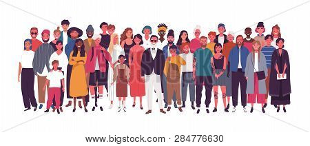 Diverse Multiethnic Or Multinational Group Of People Isolated On White Background. Elderly And Young