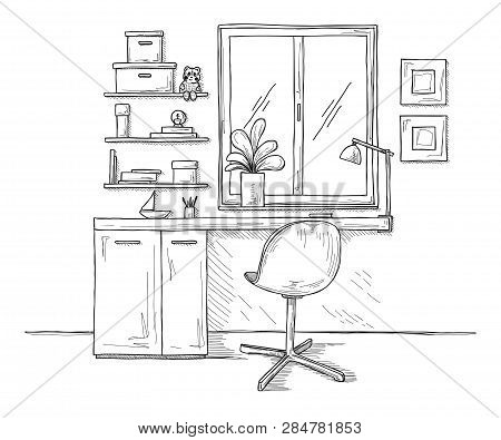 Sketch The Room. Office Chair, Desk, Various Objects On The Table. Sketch Workspace. Vector Illustra