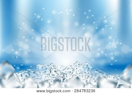 Abstract Icy Cubes Background. Abstract Ice And Snow In Light Blue Poster Design, 3d Illustration