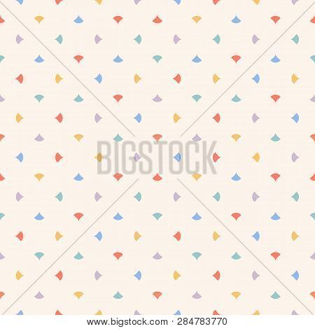 Cute Colorful Abstract Geometric Seamless Pattern With Small Triangles, Petals, Dots, Confetti. Vect