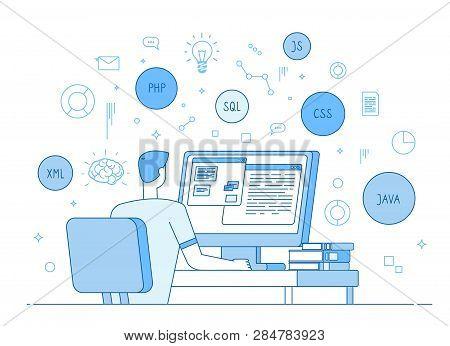Programmer Coding Website. Coder Web Designer Works On Javascript, Php Code Programming Language. So