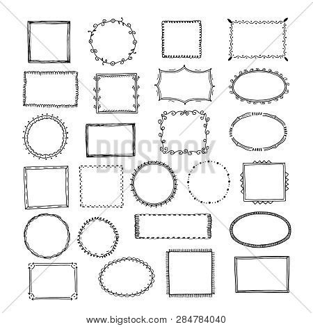 Doodle Frames. Square Borders Sketch Lines Hand Drawn Round Picture Empty Frame Vintage Vector Set.