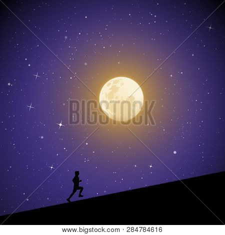 Man Runs Uphill On Moonlit Night. Vector Illustration With Silhouette Of Male Runner In Park. Northe