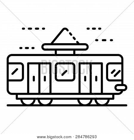Retro Tramway Icon. Outline Retro Tramway Vector Icon For Web Design Isolated On White Background