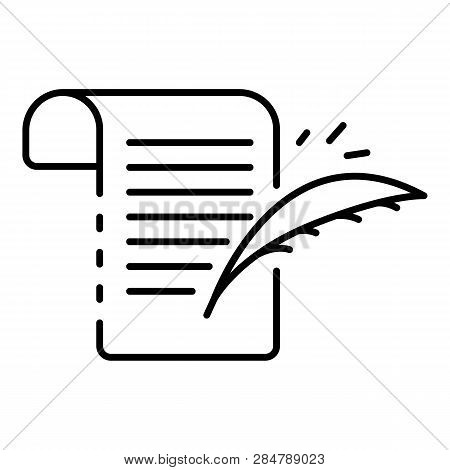 Writing Papyrus Icon. Outline Writing Papyrus Vector Icon For Web Design Isolated On White Backgroun