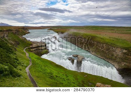 Aerial view of the Gullfoss (Golden Falls) waterfall on the Hvítá river, a popular tourist attraction and part of the Golden Circle Tourist Route in Southwest Iceland, Scandinavia