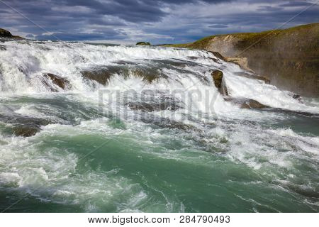 Upper part of the Gullfoss (Golden Falls) waterfall on the Hvítá river, a popular tourist attraction and part of the Golden Circle Tourist Route in Southwest Iceland, Scandinavia
