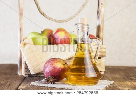 Processing Of An Agricultural Crop Of Red And Green Apples. Homemade Preparations, Healthy Diet Vege