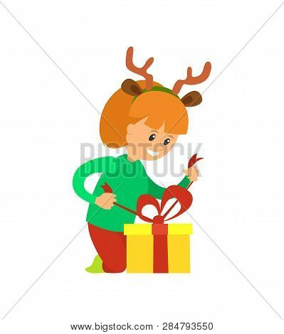 Christmas Holidays, Girl Opening Presents Vector. Girl Wearing Reindeer Horns Accessories Removes Un
