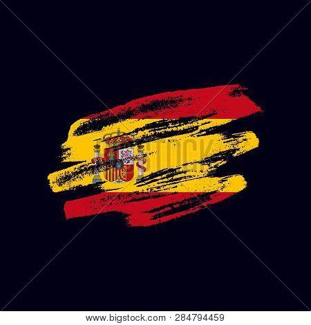 Grunge Textured Spanish Flag. Vector Brush Painted Flag Of Kingdom Of Spain Isolated On Dark Blue Ba