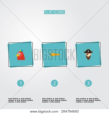 Set of piracy icons flat style symbols with pirate, spyglass, parrot and other icons for your web mobile app logo design. poster