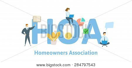 Hoa, Homeowner Association. Concept With Keywords, Letters And Icons. Flat Vector Illustration. Isol