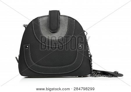 Black Suede Handbag With Chain As Strap Isolated On White