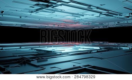 3d Render Abstract Technology Background With Cubes. Digital Technology Concept. 3d Illustration