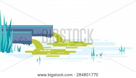 Water Pollution From Industrial Pipes Concept Illustration In Flat Style Isolated, Two Pipes Drain T