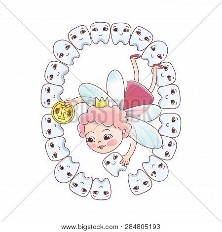 A Tooth Fairy With A Coin Flew Over For A Baby Milk Tooth. Baby Teeth Of The Baby Meet The Tooth Fai