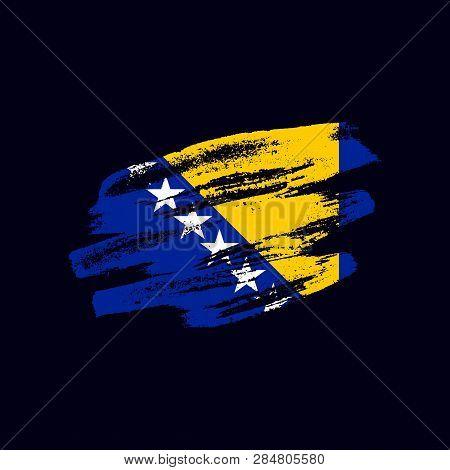 Grunge Textured Bosnian Flag. Vector Brush Painted Flag Of Bosnia And Herzegovina Isolated On Dark B