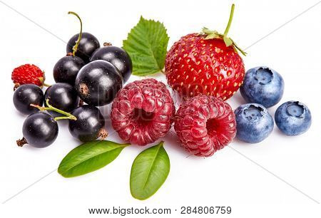 Set fresh berry. Mix summery fruit raspberry strawberry currant blueberry and wild strawberry with green leaf still life, isolated on white background.