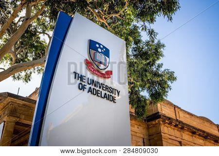 30th December 2018, Adelaide South Australia : Sign Of The Entrance Of Adelaide University With Logo