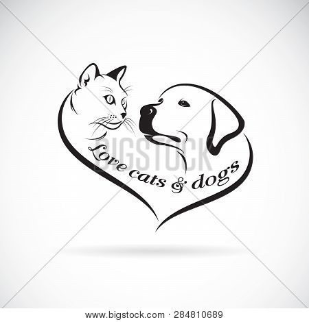 Vector Of A Dog Head(labrador Retriever) And Cat Head Design On White Background. Cat And Dog Logo O