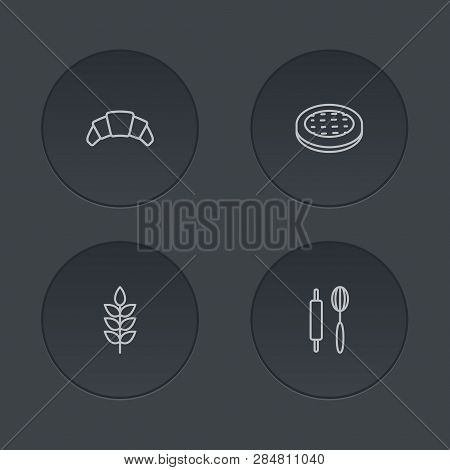 Set Of 4 Cooking Icons Line Style Set. Collection Of Cake, Grain, Whisk And Other Elements.