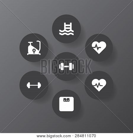 Set Of 7 Fitness Icons Set. Collection Of Pulse, Exercise Bike, Scales And Other Elements.
