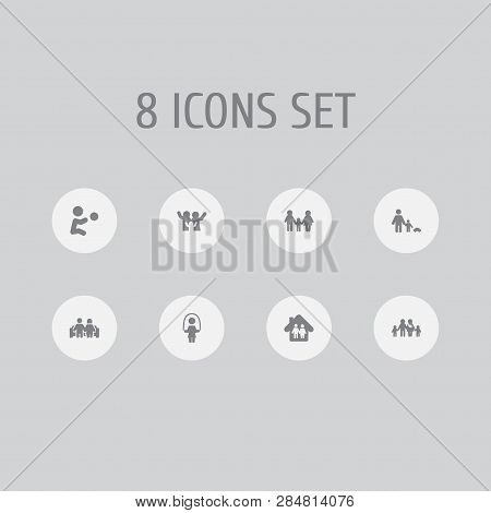 Set Of 8 People Icons Set. Collection Of Playing, Parents, Happy And Other Elements.