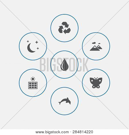 Set Of 7 Natural Icons Set. Collection Of Sun Power, Recycle, Water Drop And Other Elements.