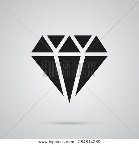 Isolated Crystal Icon Symbol On Clean Background.  Gem Element In Trendy Style.