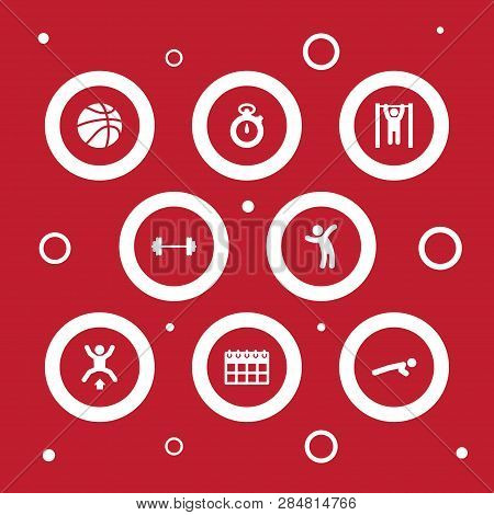 Set Of 8 Fitness Icons Set. Collection Of Activity, Basketball, Barbell And Other Elements.
