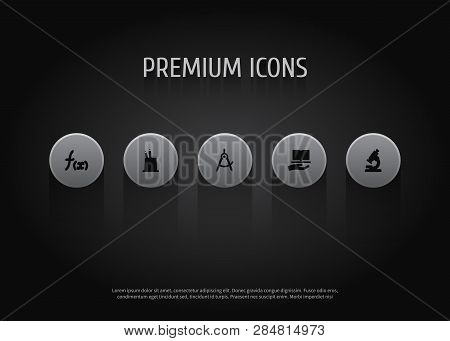 Set Of 5 Knowledge Icons Set. Collection Of Pencil Stand, Dividers Measurement, Mathematics Elements