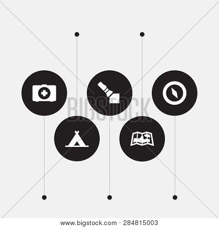 Set Of 5 Camping Icons Set. Collection Of Gps, Pocket Torch, Shelter And Other Elements.