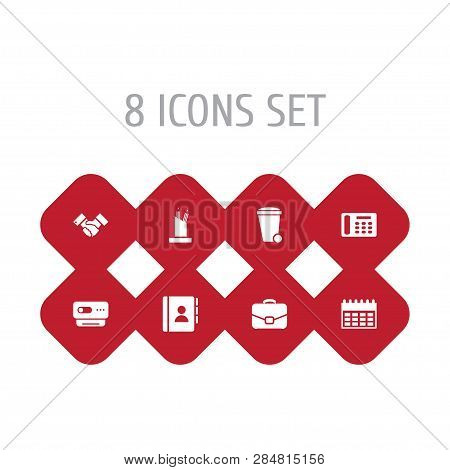 Set Of 8 Bureau Icons Set. Collection Of Webcam, Pen Storage, Contacts And Other Elements.
