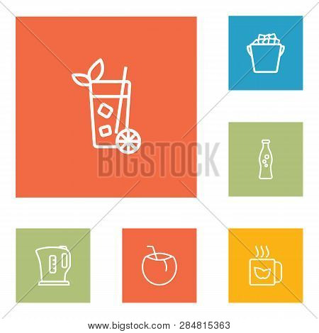Set Of 6 Drinks Icons Line Style Set. Collection Of Lemonade, Cocos, Fridge And Other Elements.