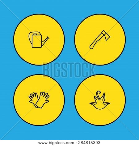 Set Of 4 Household Icons Line Style Set. Collection Of Ax, Watering Can, Plant And Other Elements.