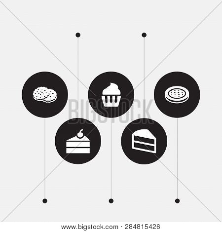 Set Of 5 Food Icons Set. Collection Of Cake, Cupcake, Apple Pie And Other Elements.
