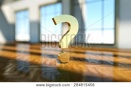 Question Mark In Front Of A Real Estate Background. Realtor Concept - 3D Rendering.