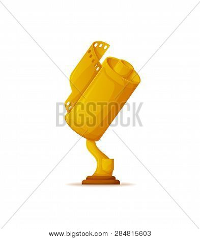 Trophy For Cinema Success Vector, Movie Award For Achievements, Gold Prize. Leadership And Victory O