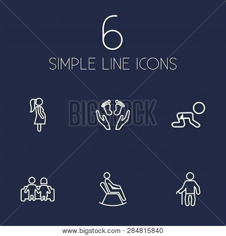 Set Of 6 Family Icons Line Style Set. Collection Of Look After, Rocking Chair, Expectant Mother And