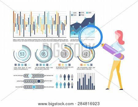 Statistical Charts And Graphics, Business Infographic Vector. Percentage Or Flowcharts, Businesswoma
