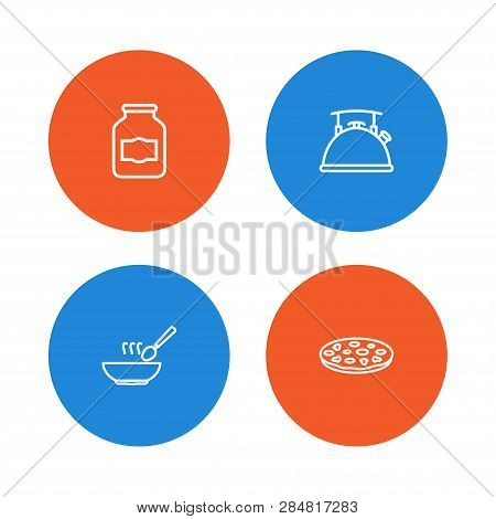 Set Of 4 Kitchen Icons Line Style Set. Collection Of Broth, Pizzeria, Teapot And Other Elements.