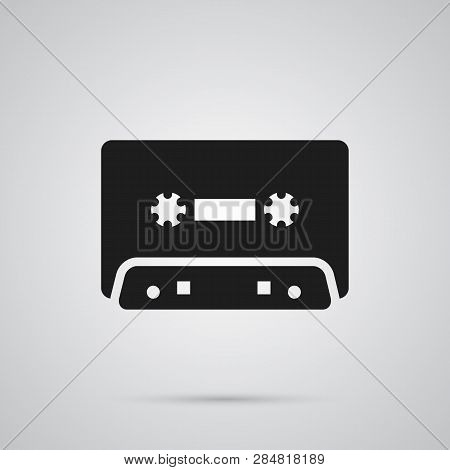 Isolated Cassette Icon Symbol On Clean Background.  Tape Element In Trendy Style.