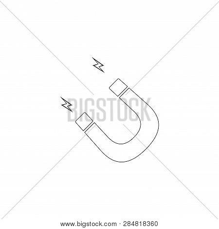 Magnet. Simple Flat Vector Icon Illustration. Outline Line Symbol - Editable Stroke