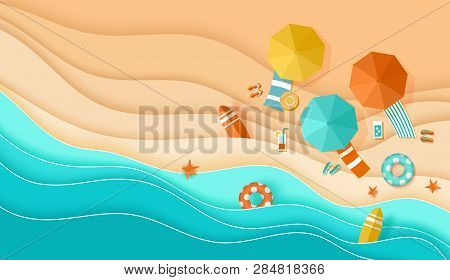 Beach Top View Background With Sea Waves, Sand, Umbrella, Deck Chair, Surfboard, Starfish, Ball, Coc