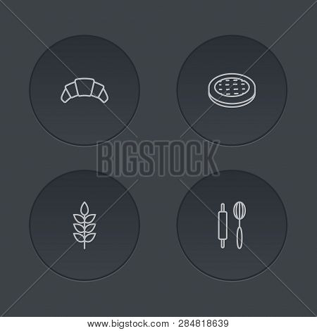 Set Of 4 Bakery Icons Line Style Set. Collection Of Cake, Grain, Whisk And Other Elements.