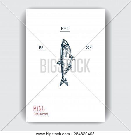 Vector Illustration Sketch Sea Food. Restaurant Menu.