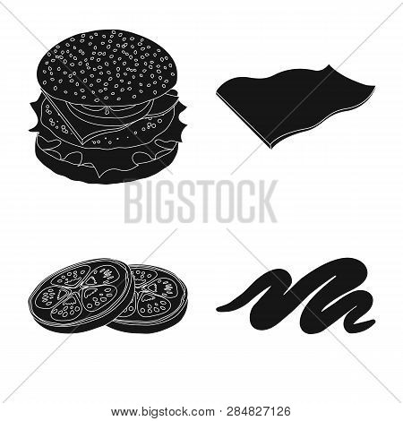 Vector Illustration Of Burger And Sandwich Sign. Set Of Burger And Slice Vector Icon For Stock.
